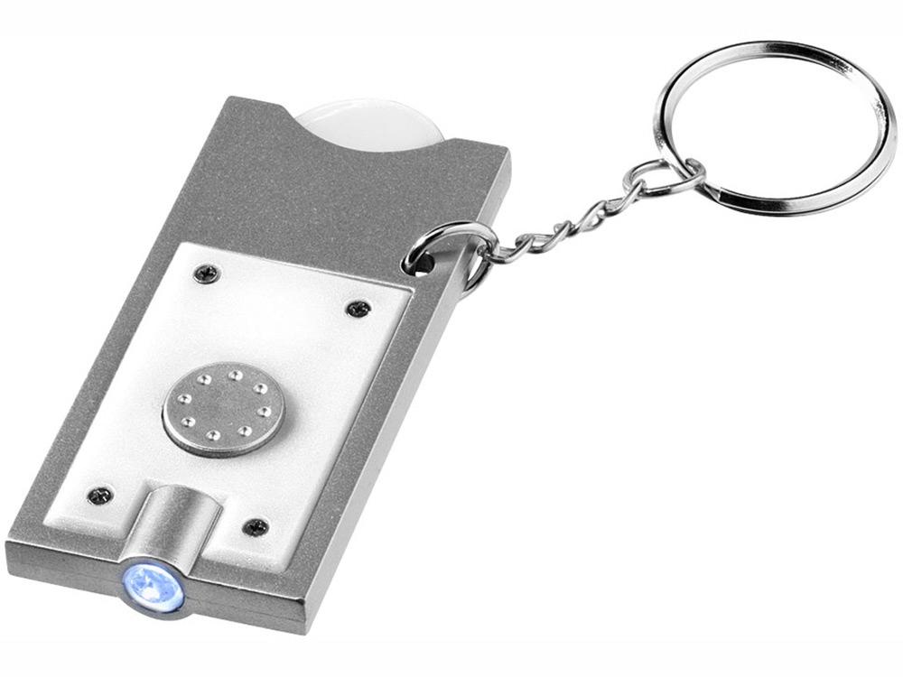 Брелок-держатель для монет Allegro с фонариком, белый/серебристый