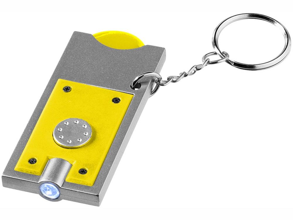 Брелок-держатель для монет Allegro с фонариком, желтый/серебристый