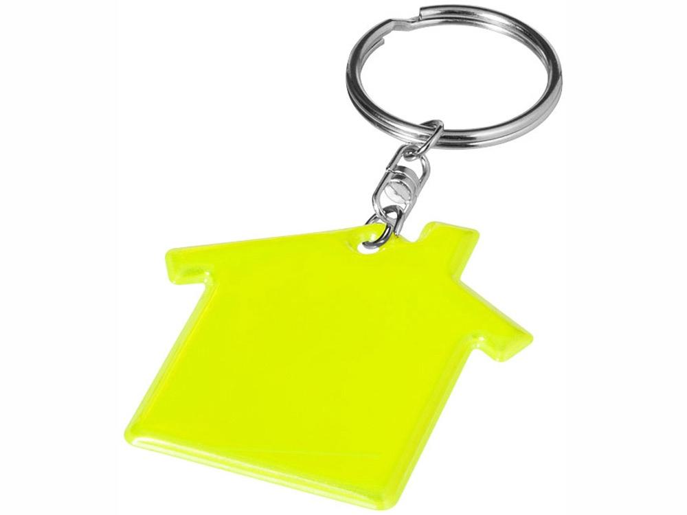 Брелок в форме дома, неоново-желтый