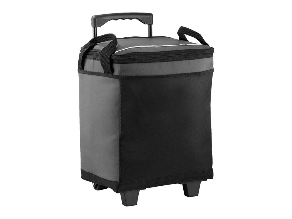 Сумка-холодильник на роликах на 32 банки, серый/черный