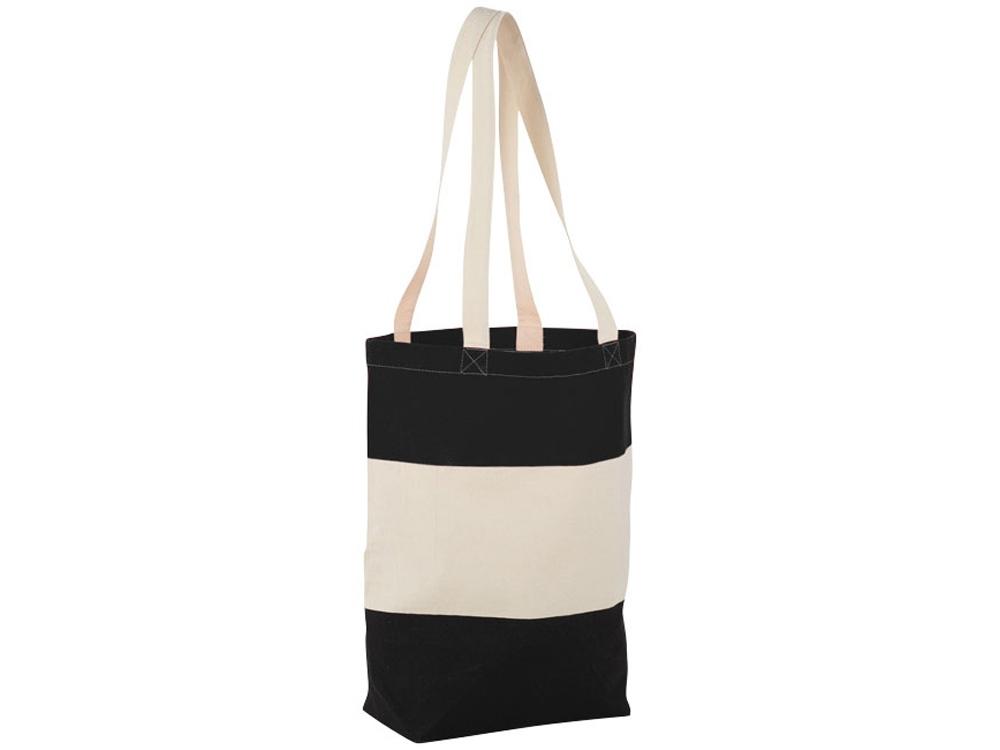 Хлопковая сумка Colour Block, черный/бежевый