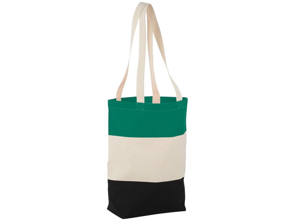Хлопковая сумка Colour Block, зеленый/бежевый/черный