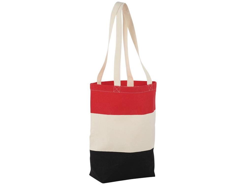 Хлопковая сумка Colour Block, красный/бежевый/черный