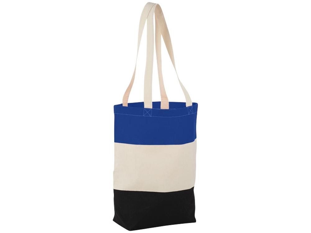 Хлопковая сумка Colour Block, ярко-синий/бежевый/черный