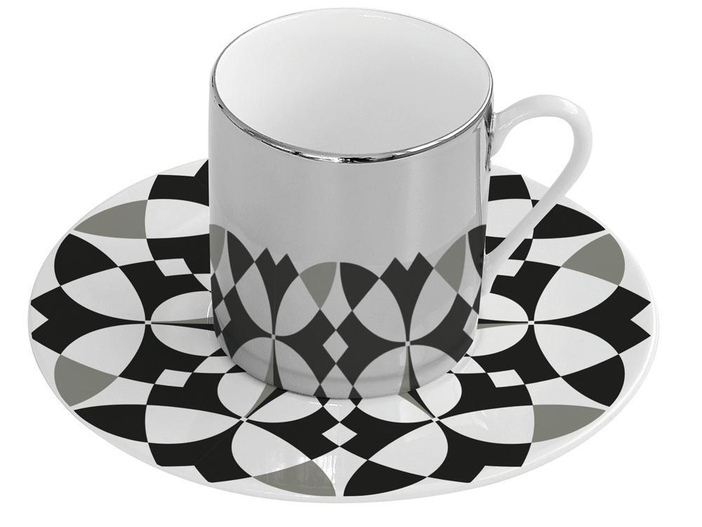 Чайная пара «Магия», белый/черный