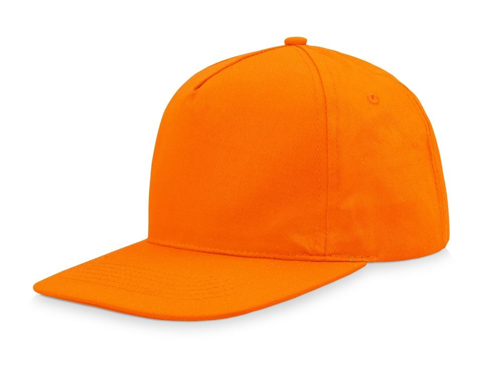 Бейсболка  5-ти панельная с прямым козырьком, оранжевый