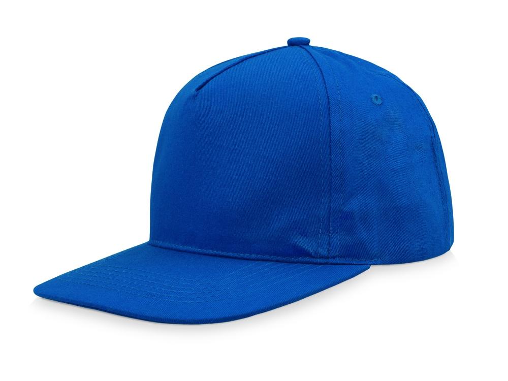 Бейсболка  5-ти панельная с прямым козырьком, кл.синий