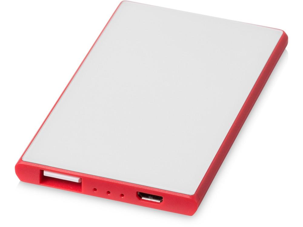 Портативное зарядное устройство Slim Credit Card, красный/красный