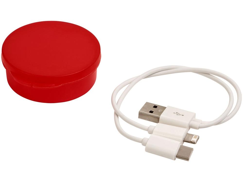 Кабель для зарядки Versa 3-в-1 в футляре, красный прозрачный