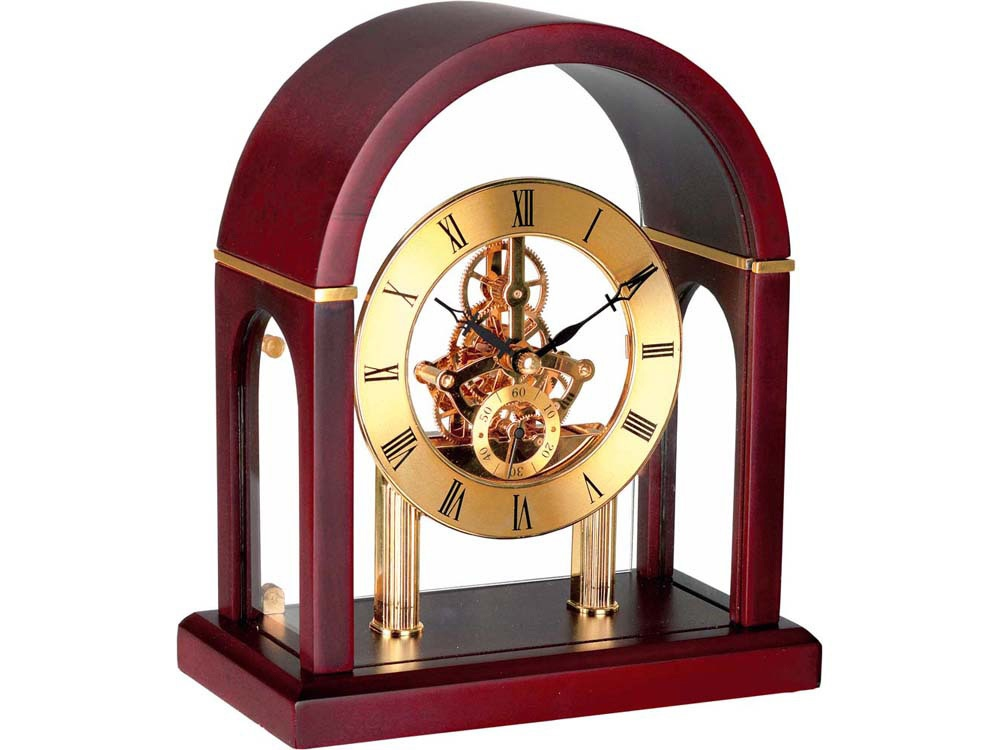 Часы Триумфальная арка, золотистый/красное дерево