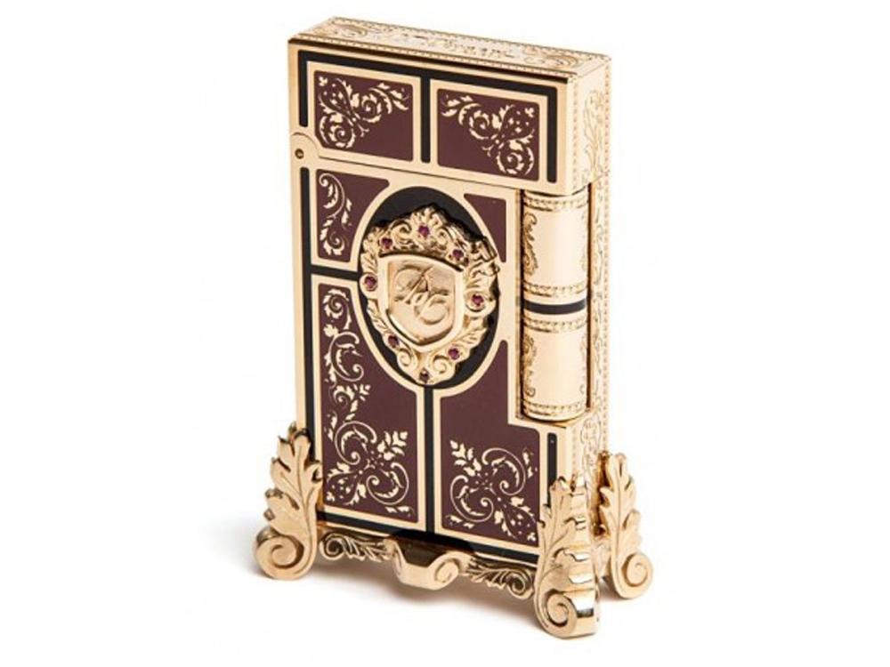Зажигалка Second Empire Prestige. S.T.Dupont, золотистый/коричневый