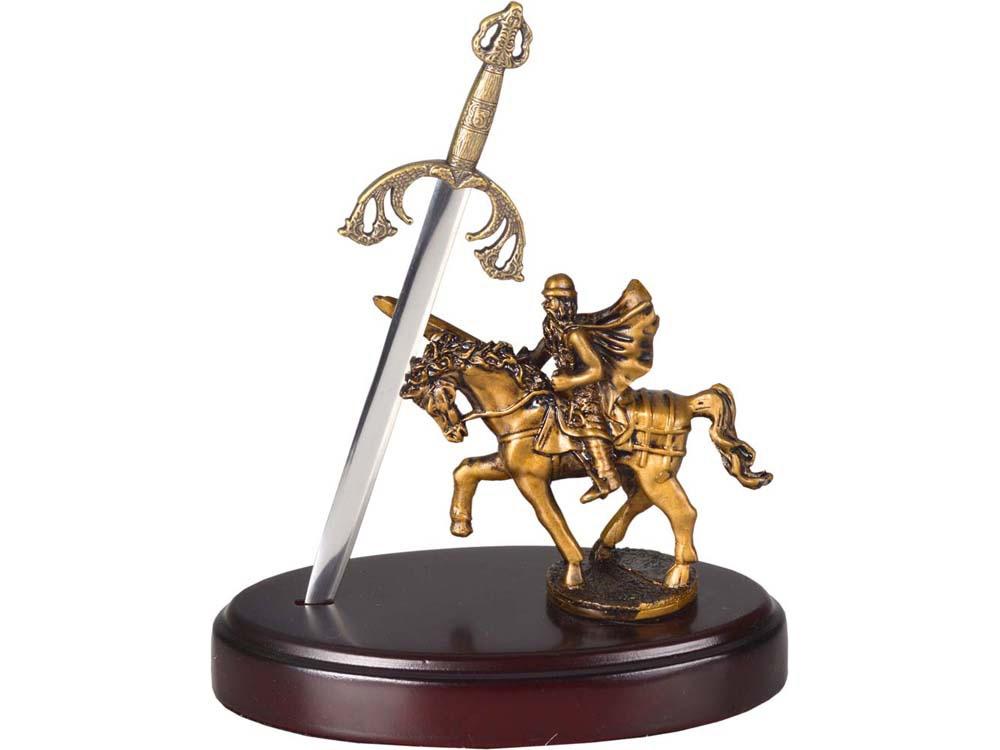 Нож на подставке «Сэр Ланселот», серебристый/золотистый/красное дерево