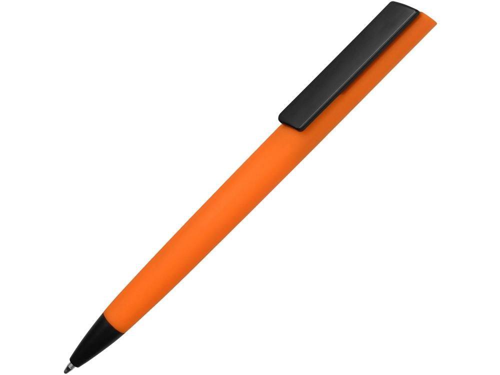Ручка пластиковая soft-touch шариковая Taper, оранжевый/черный