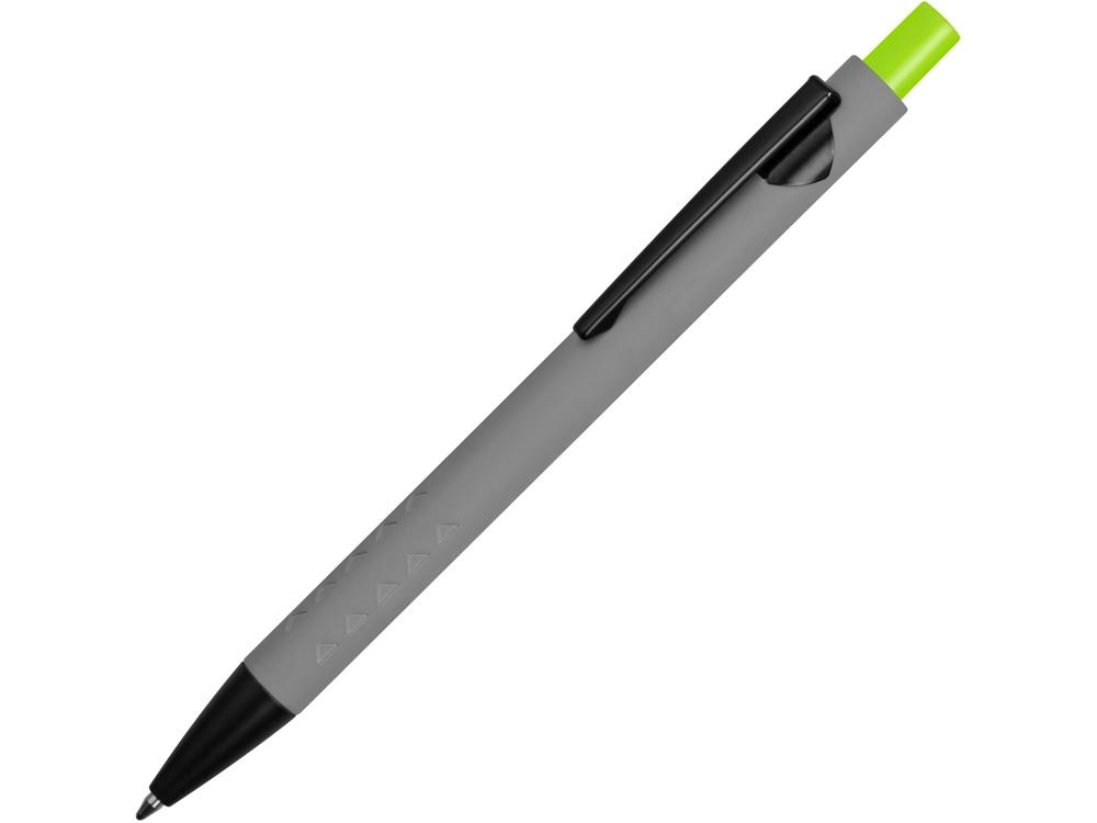 Ручка металлическая soft-touch шариковая «Snap», серый/черный/зеленое яблоко