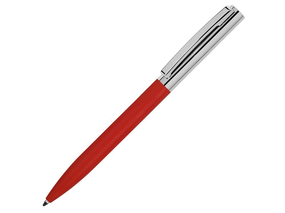 Ручка металлическая soft-touch шариковая Tally с зеркальным слоем, серебристый/красный