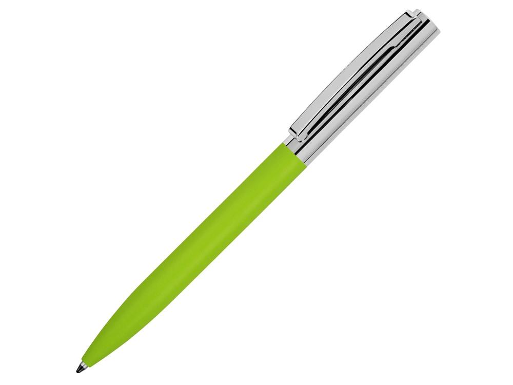 Ручка металлическая soft-touch шариковая Tally с зеркальным слоем, серебристый/зеленый