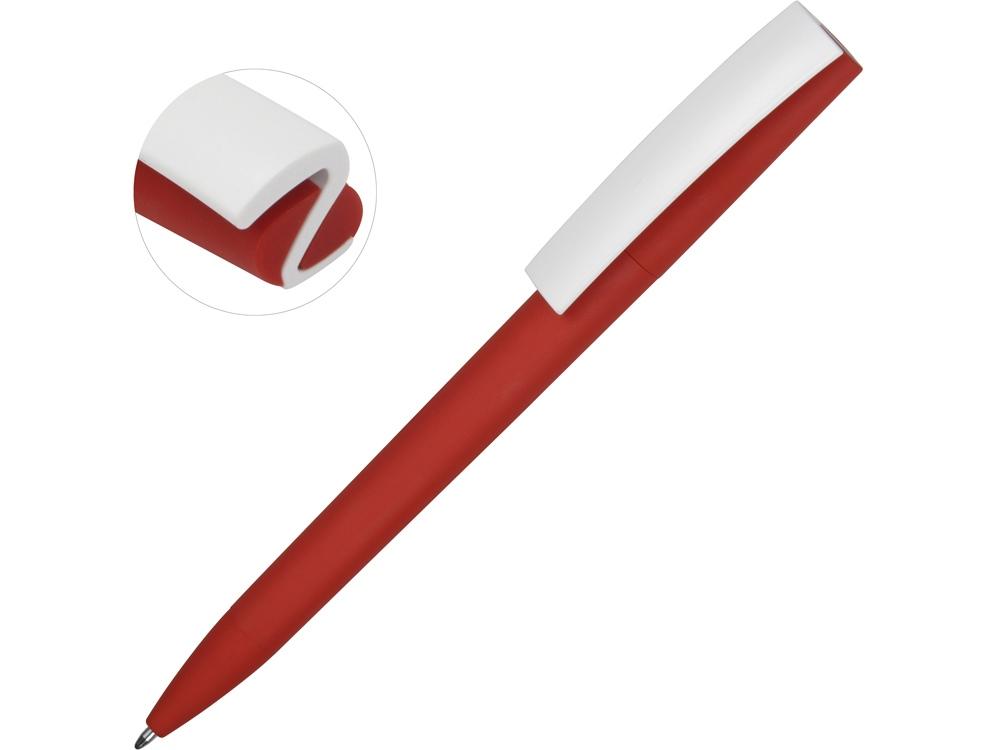 Ручка пластиковая soft-touch шариковая Zorro, красный/белый