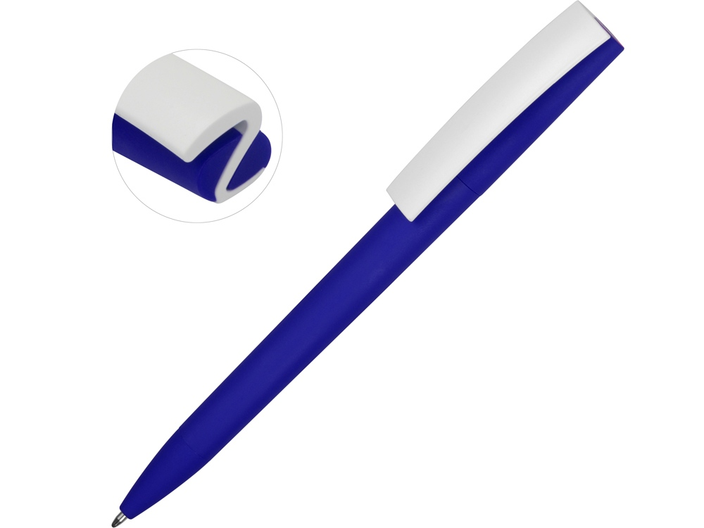 Ручка пластиковая soft-touch шариковая Zorro, синий/белый