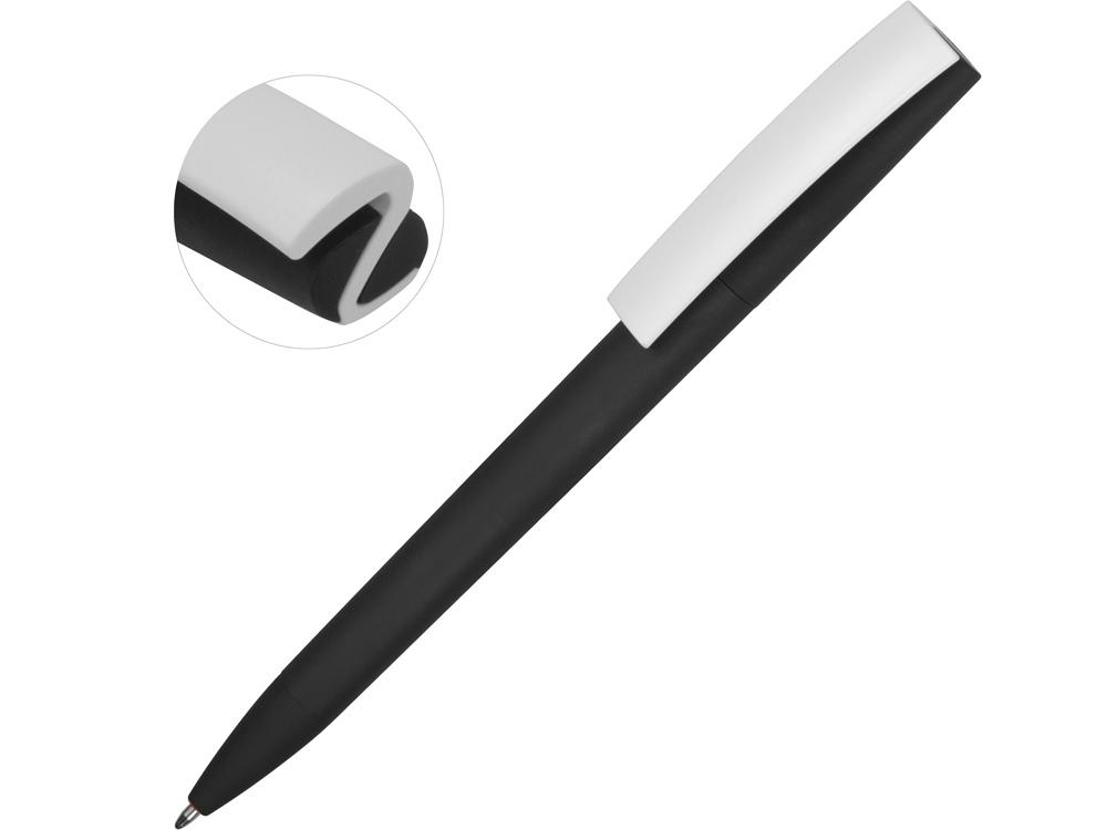 Ручка пластиковая soft-touch шариковая Zorro, черный/белый