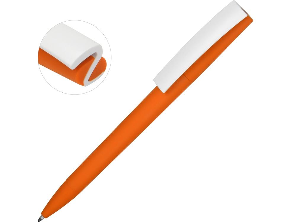 Ручка пластиковая soft-touch шариковая Zorro, оранжевый/белый