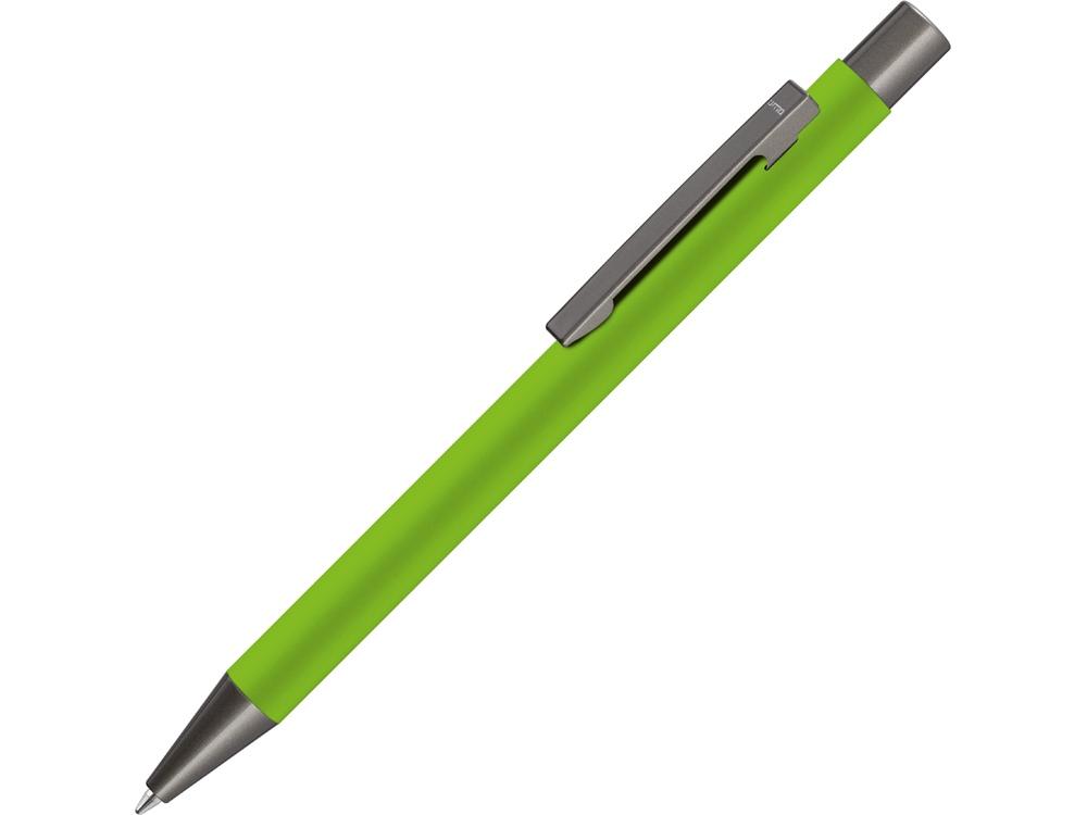 Ручка шариковая UMA STRAIGHT GUM soft-touch, с зеркальной гравировкой, зеленое яблоко