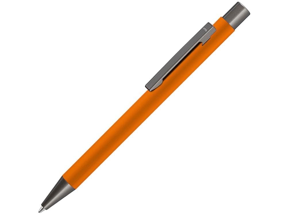 Ручка шариковая UMA «STRAIGHT GUM» soft-touch, с зеркальной гравировкой, оранжевый