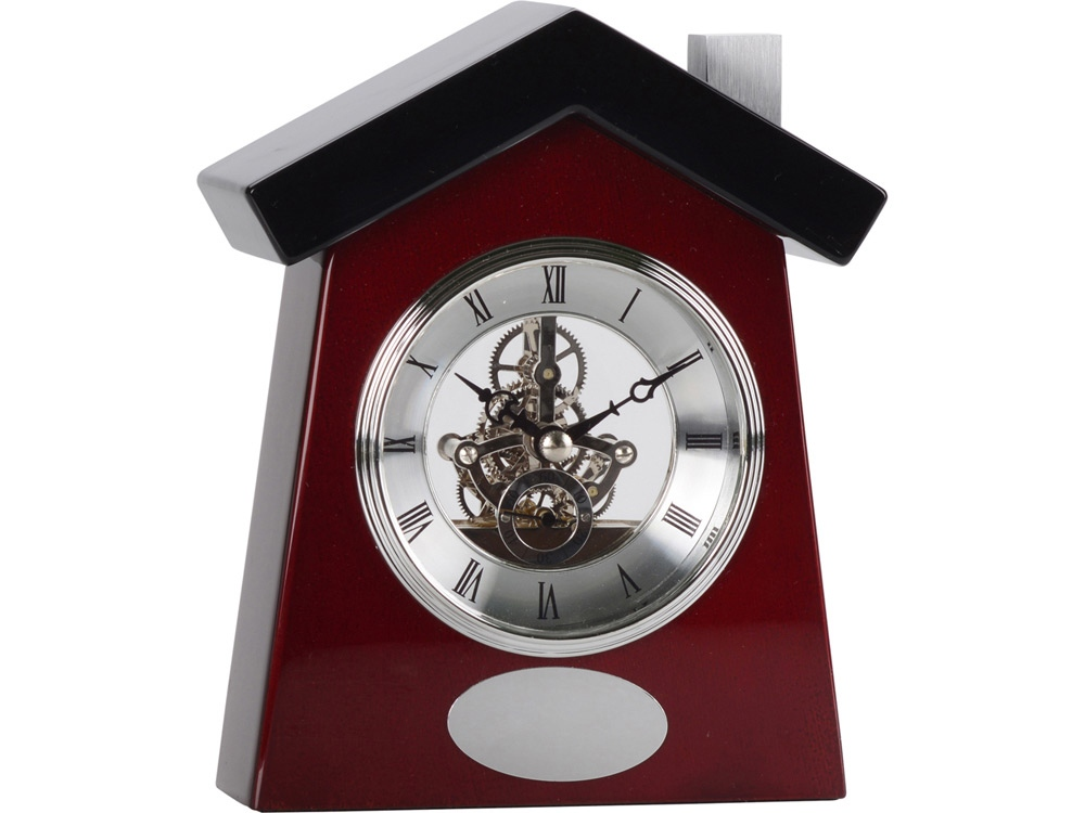 Часы настольные Домик, коричневый/серебристый