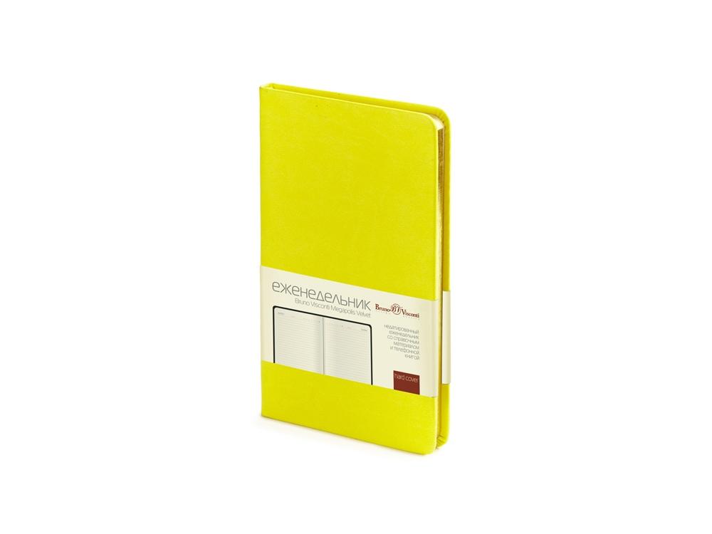 Ежедневник А6 недатированный Megapolis Velvet, желтый