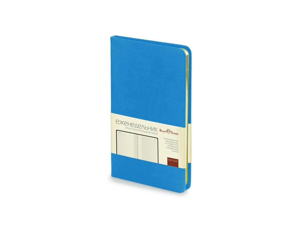 Ежедневник А6 недатированный Megapolis Velvet, ярко-синий