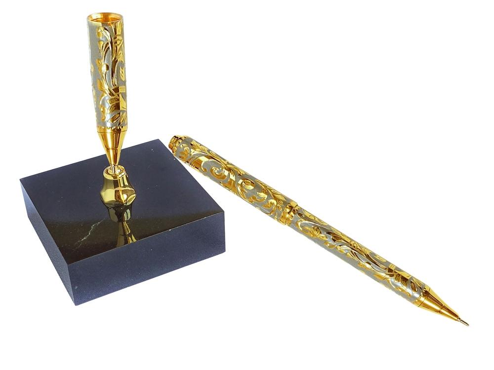 Ручка на подставке, золотистый/черный