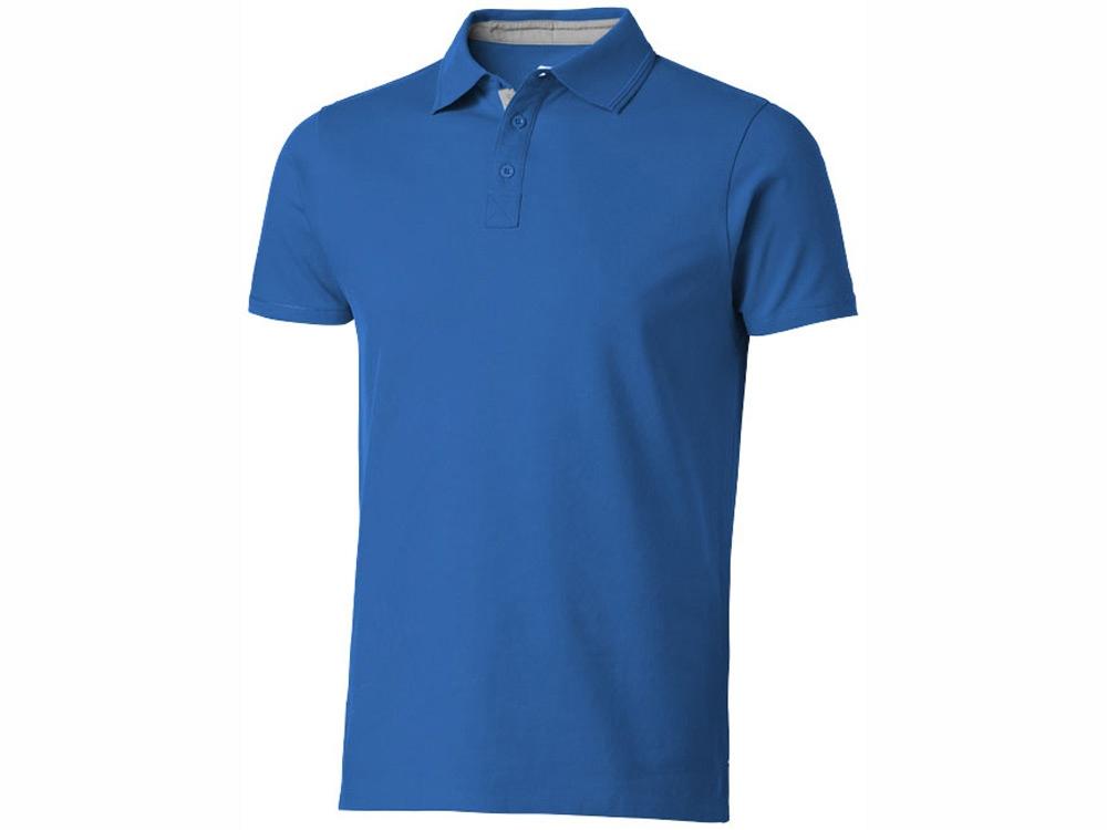 Рубашка поло Hacker мужская, небесно-синий/серый