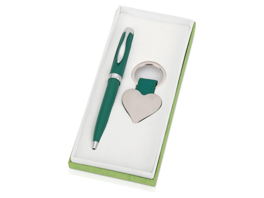 Подарочный набор Сердце: ручка шариковая, брелок, зеленый
