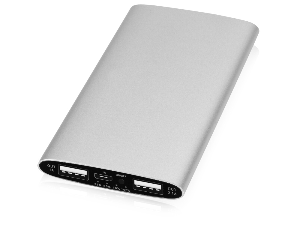 Портативное зарядное устройство Мун с 2-мя USB-портами, 4400 mAh, серебристый