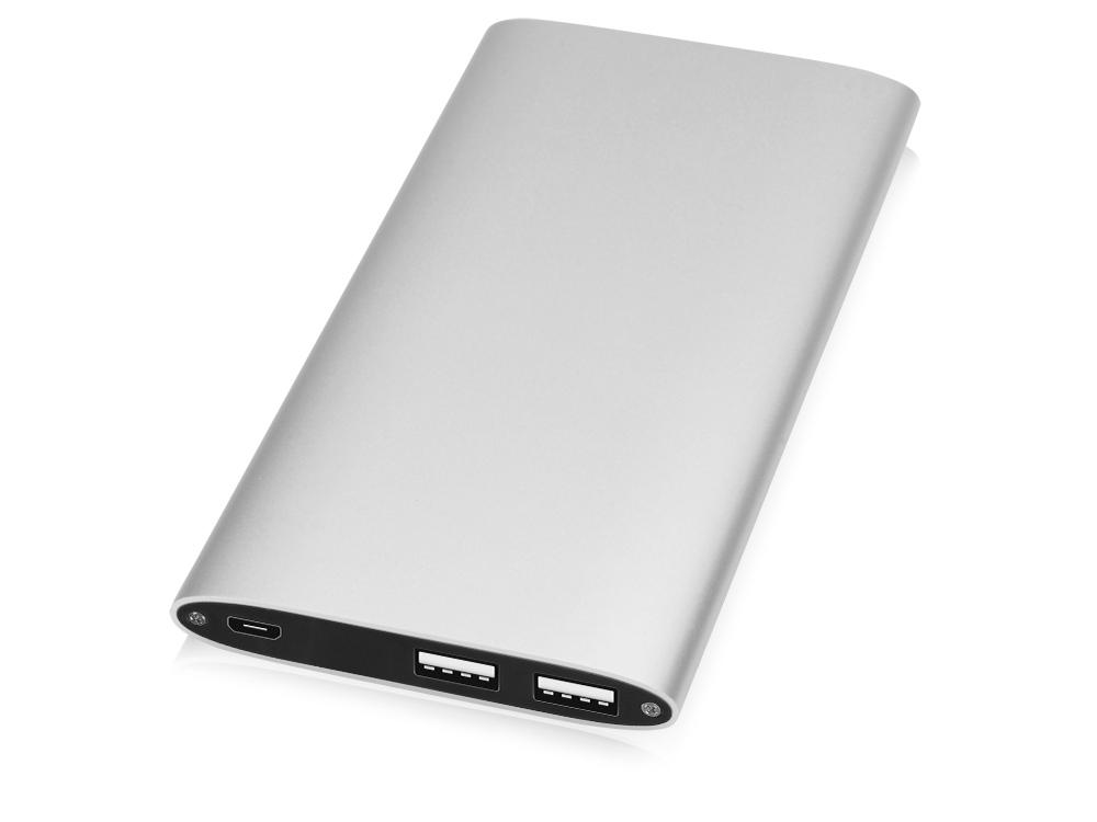 Портативное зарядное устройство Джет с 2-мя USB-портами, 8000 mAh, серебристый