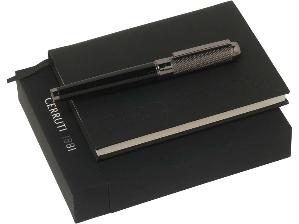 Набор Cerruti 1881: записная книжка А6, ручка роллер, черный