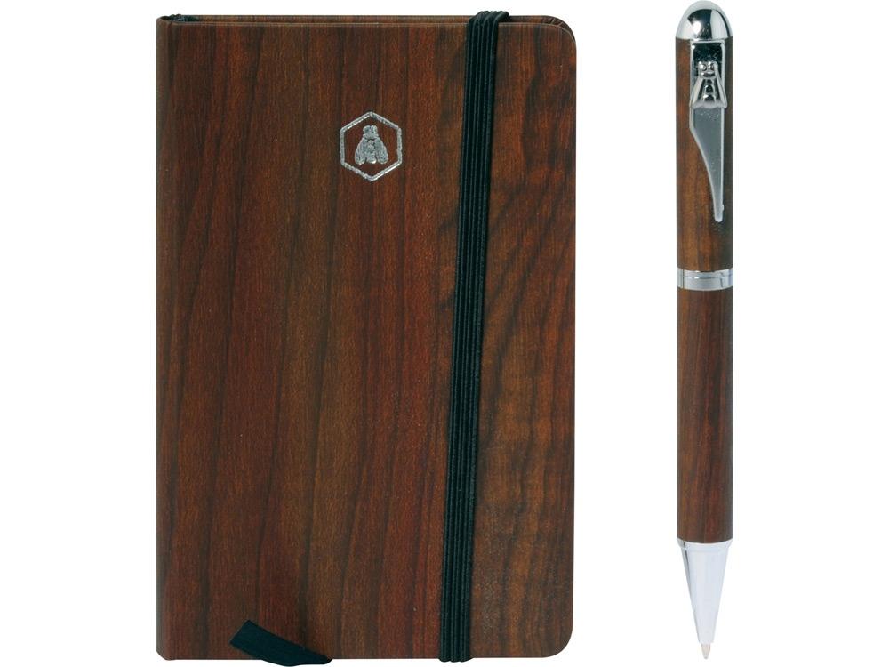 Набор подарочный Larbey: записная книжка, ручка шариковая, коричневый/серебристый