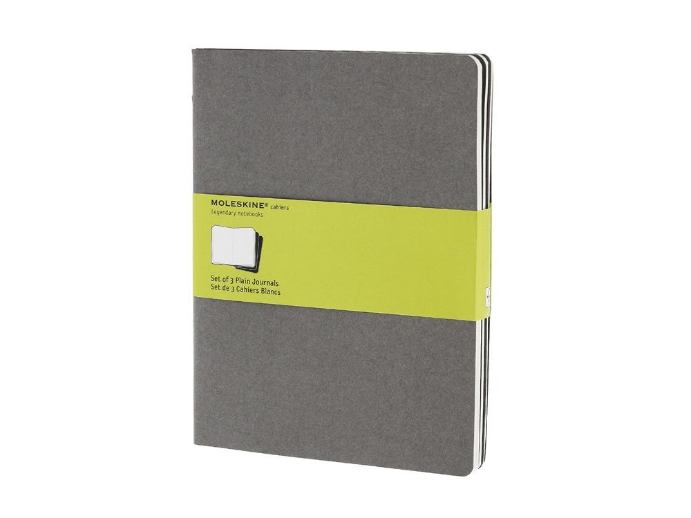 Записная книжка Moleskine Cahier (нелинованный, 3 шт.), ХLarge (19х25см), серый