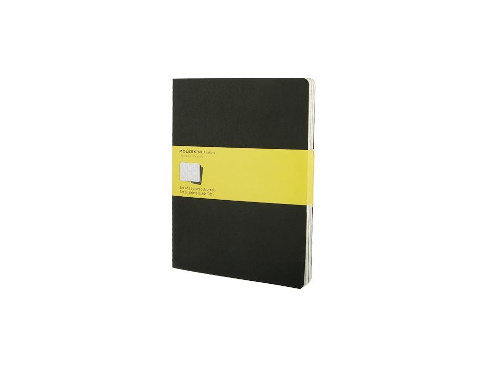 Записная книжка Moleskine Cahier (в клетку, 3 шт.), ХLarge (19х25см), черный