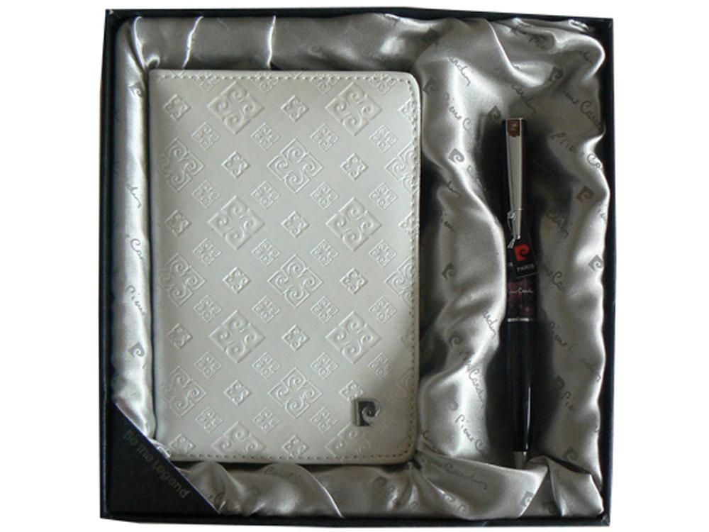 Набор: ручка шариковая, обложка для паспорта. Pierre Cardin, серый