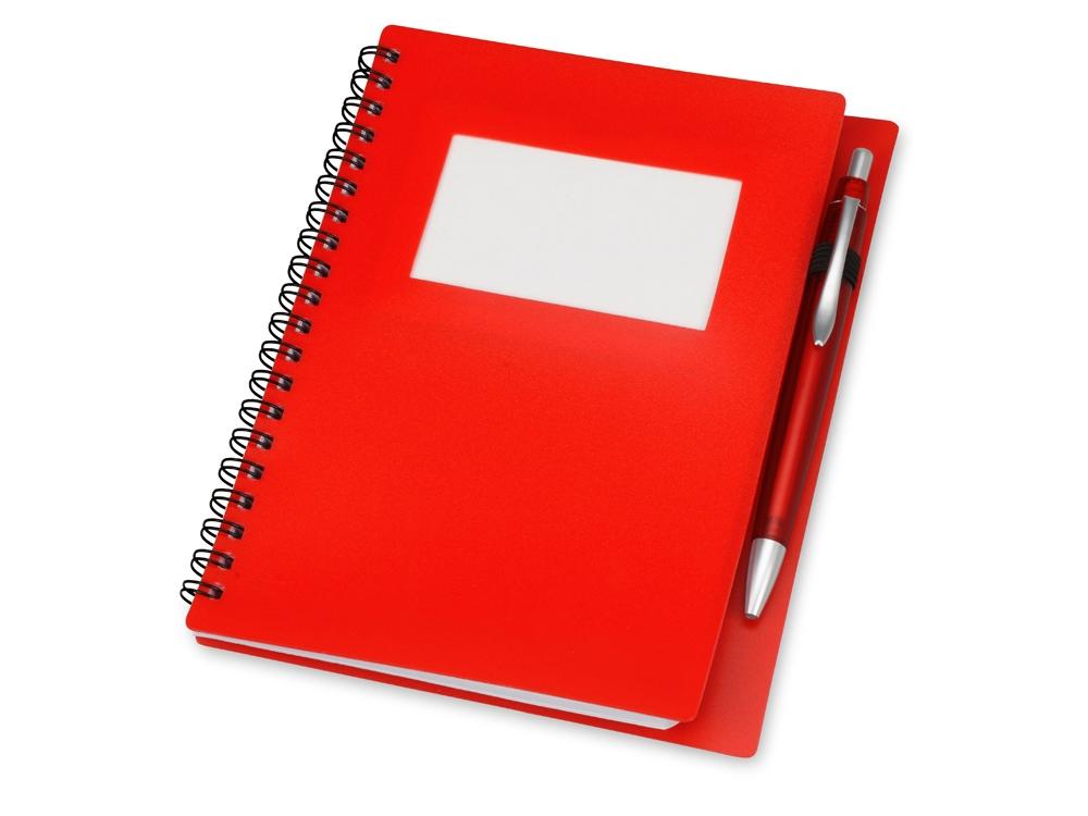 Блокнот Контакт с ручкой, красный