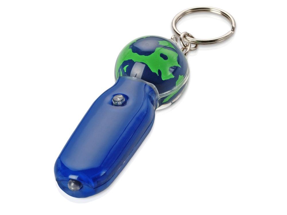 Брелок-фонарик с плавающей мини-фигурой Земной шар, синий/зеленый