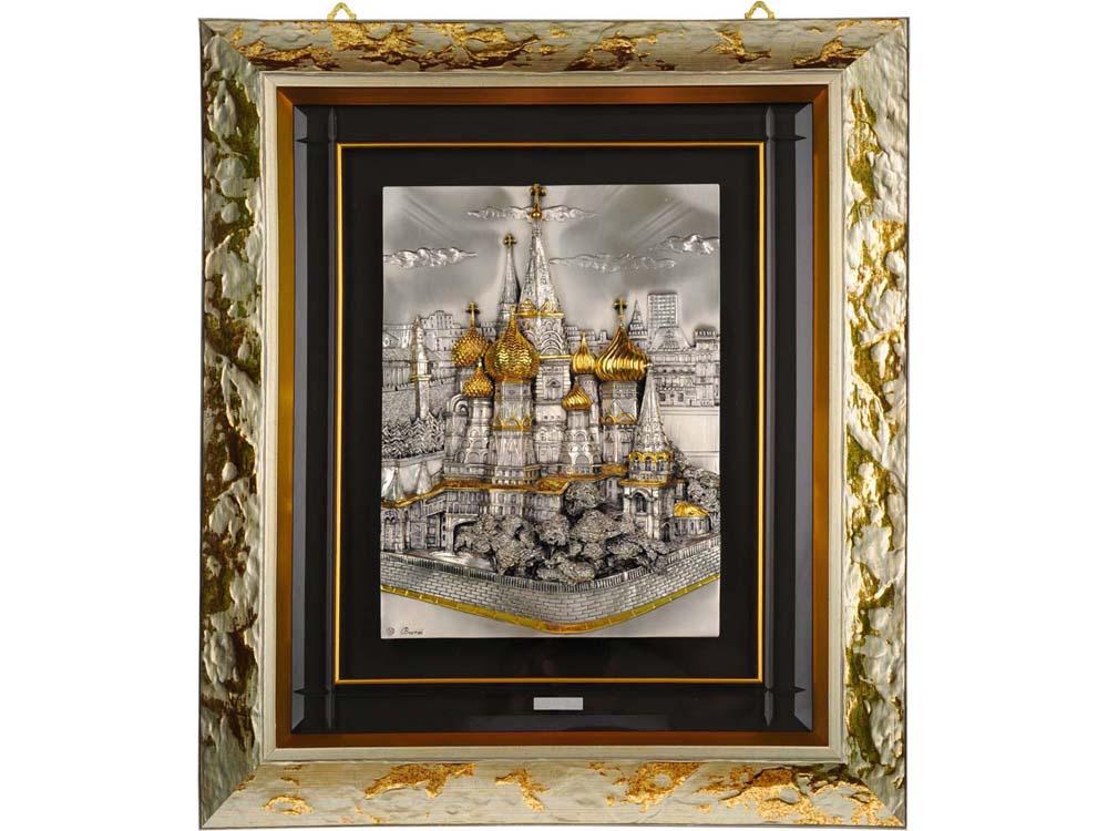 Картина на серебре Собор Василия Блаженного