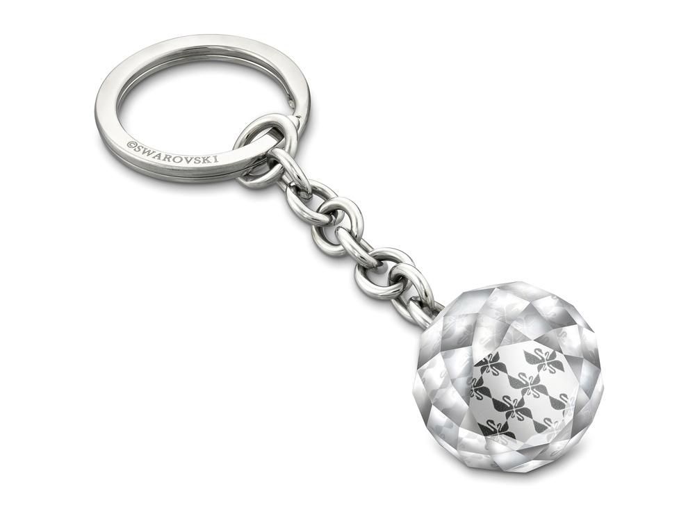 Брелок для ключей Ball, средний. Swarovski, прозрачный/серебристый