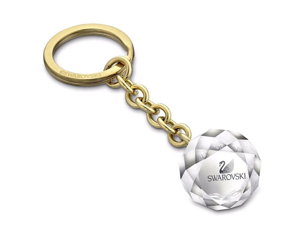 Брелок для ключей Ball, средний. Swarovski, прозрачный/золотистый