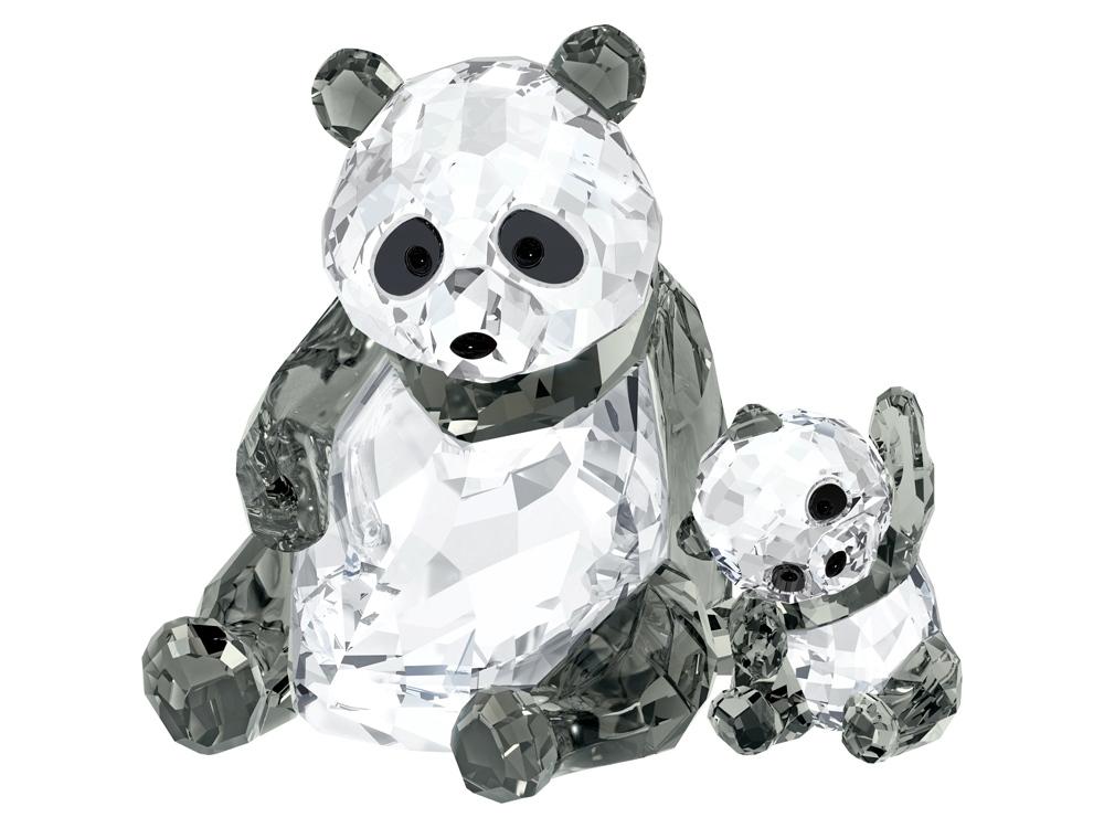 Панда: мама с малышом. Swarovski