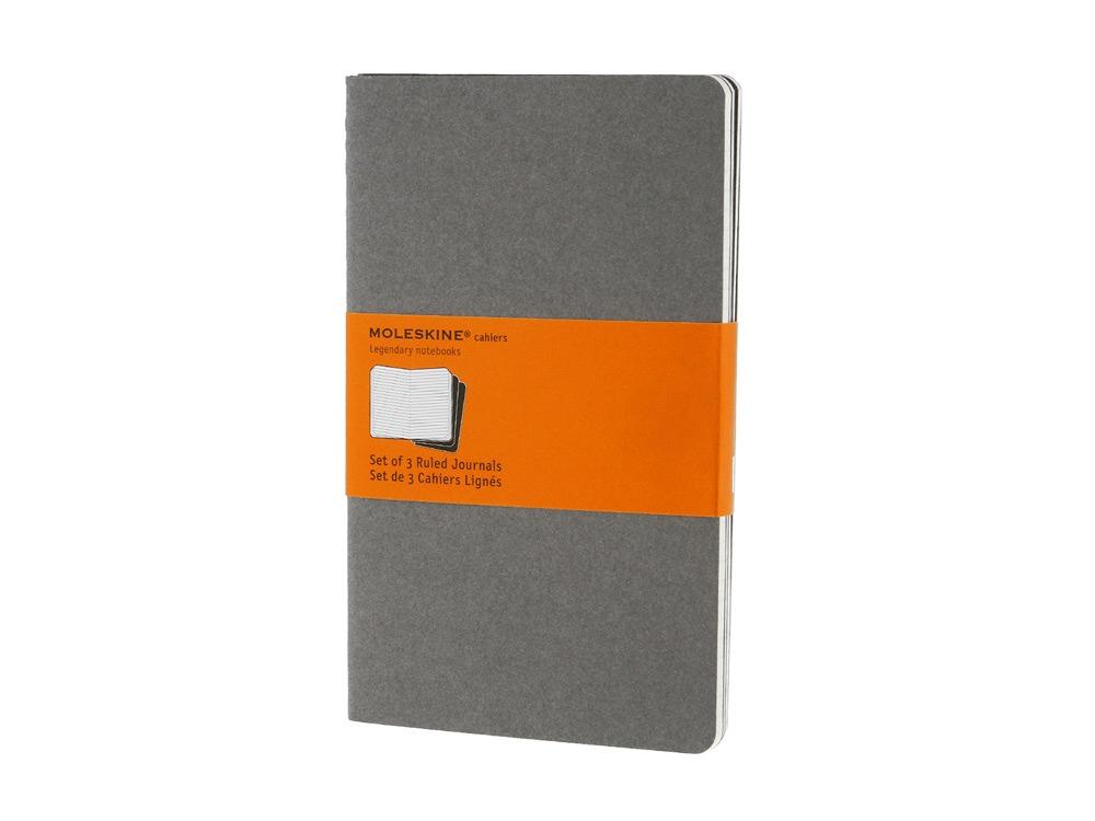Записная книжка Moleskine Cahier (в линейку, 3 шт.), Large (13х21см), серый