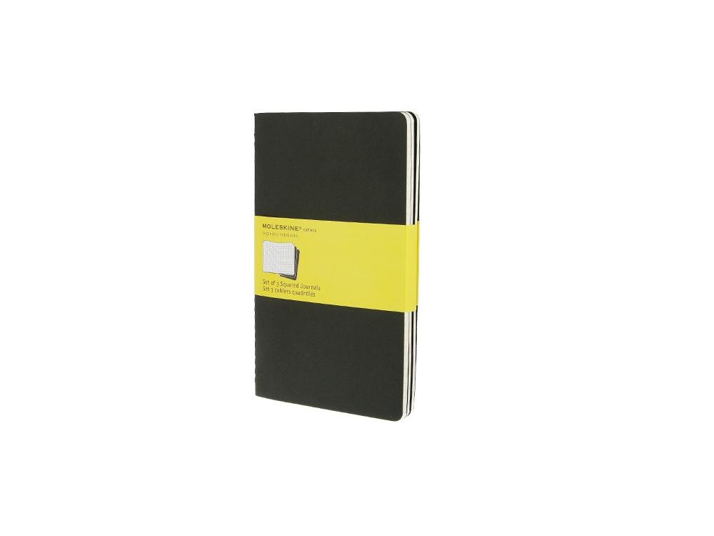 Записная книжка Moleskine Cahier (в клетку, 3 шт.), Large (13х21см), черный