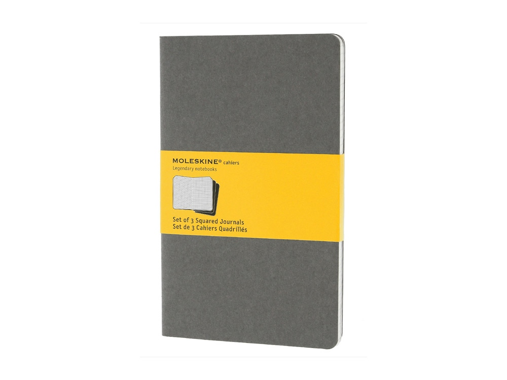 Записная книжка Moleskine Cahier (в клетку, 3 шт.), Large (13х21см), серый