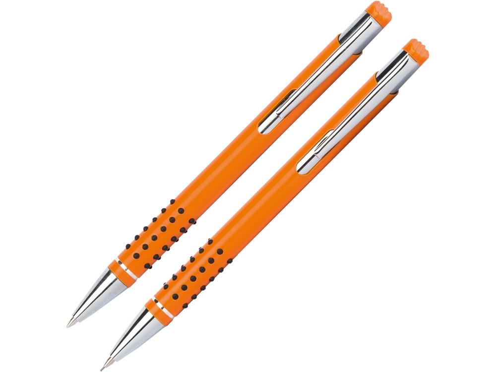 Набор «Онтарио: ручка шариковая, карандаш механический, оранжевый/серебристый