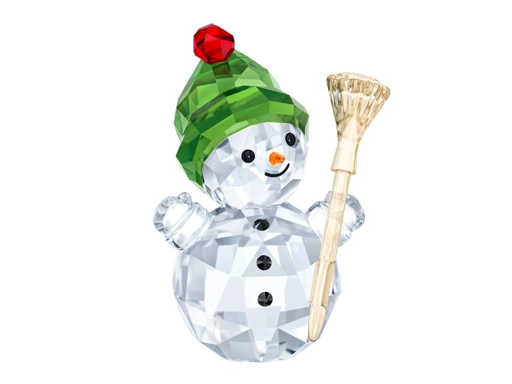 Качающаяся фигурка Снеговик с метлой. Swarovski